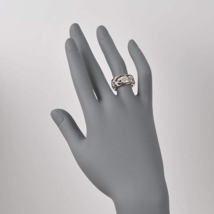 .30 ct. t.w. Diamond Floral Ring in 18kt Two-Tone Gold