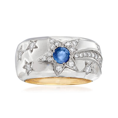 C. 1980 Vintage Chanel 1.05 ct. t.w. Blue and Yellow Sapphire and .25 ct. t.w. Diamond Star Ring in 18kt Two-Tone Gold, , default