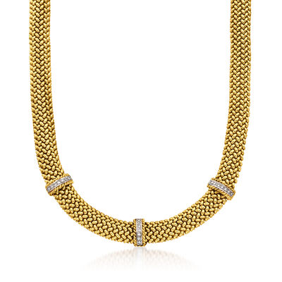 C. 1990 Vintage 14kt Yellow Gold Mesh Necklace with .65 ct. t.w. Diamond Stations