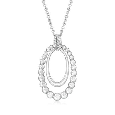 Gabriel Designs Sterling Silver Oval Pendant Necklace with White Sapphire Accents