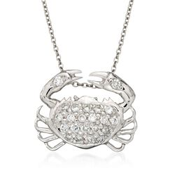 "Roberto Coin ""Tiny Treasures"" .19 ct. t.w. Crab Diamond Necklace in 18kt White Gold, , default"