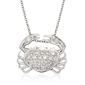 "Roberto Coin Tiny Treasures .19 Carat Total Weight Diamond Crab Necklace in 18-Karat White Gold. 16"", , default"