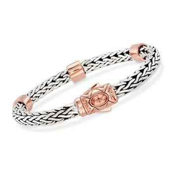 "Phillip Gavriel ""La Vie En Rose"" .72 ct. t.w. White Sapphire Station Bracelet in Sterling Silver and 18kt Rose Gold. 7.25"", , default"