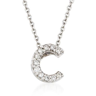 "Roberto Coin ""Love Letter"" Diamond Accent Initial ""C"" Necklace in 18kt White Gold"