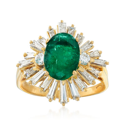 C. 1980 Vintage 2.00 Carat Emerald and 1.75 ct. t.w. Diamond Ring in 18kt Yellow Gold, , default