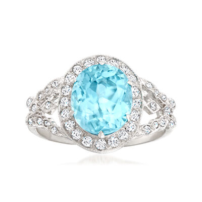 C. 2000 Vintage 5.00 Carat Blue Zircon Ring with .50 ct. t.w. Diamonds in 18kt White Gold