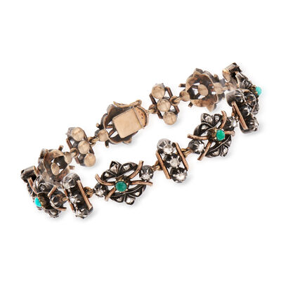 C. 1900 Vintage Turquoise and 2.20 ct. t.w. Diamond Bracelet in Sterling Silver and 14kt Yellow Gold