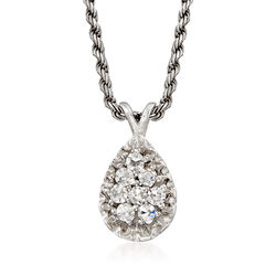 C. 1980 Vintage .25 ct. t.w. Diamond Cluster Necklace in 14kt White Gold, , default