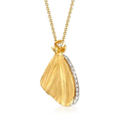 Simon G. .10 ct. t.w. Diamond Butterfly Wing Pendant Necklace in 18kt Yellow Gold, , default
