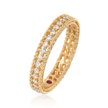 Roberto Coin Symphony Princess .43 Carat Total Weight Diamond Band in 18-Karat Yellow Gold. Size 7, , default