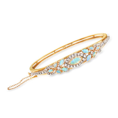 C. 1970 Vintage Opal and 1.25 ct. t.w. Diamond Bangle Bracelet in 14kt Yellow Gold, , default