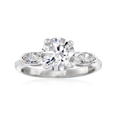 C. 1960 Vintage 1.70 ct. t.w. Round and Marquise Diamond Ring in Platinum