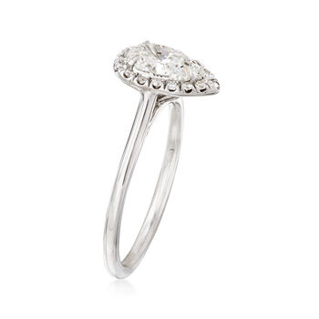 1.01 Carat Pear Diamond and .13 ct. t.w. Diamond Halo Ring in 18kt White Gold