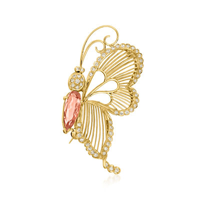 C. 1990 Vintage 3.43 ct. t.w. Imperial Orange Topaz and .70 ct. t.w. Diamond Butterfly Pin in 18kt Yellow Gold
