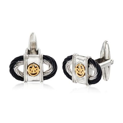 ALOR Black and Gray Stainless Steel Oval Cable Cuff Links with 18kt Yellow Gold