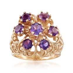 C. 1980 Vintage 1.40 ct. t.w. Amethyst Scrollwork Ring in 14kt Yellow Gold, , default