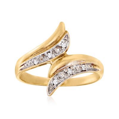 C. 1980 Vintage Diamond-Accented Bypass Ring in 10kt Yellow Gold