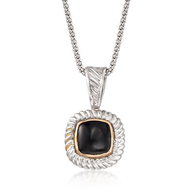 C. 2000 Vintage Black Onyx Pendant Necklace in Sterling Silver with 14kt Gold, , default