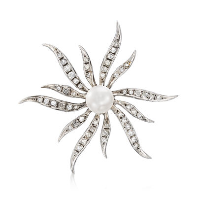 C. 1960 Vintage 7.5mm Cultured Pearl and .65 ct. t.w. Diamond Sunburst Pin in 14kt White Gold