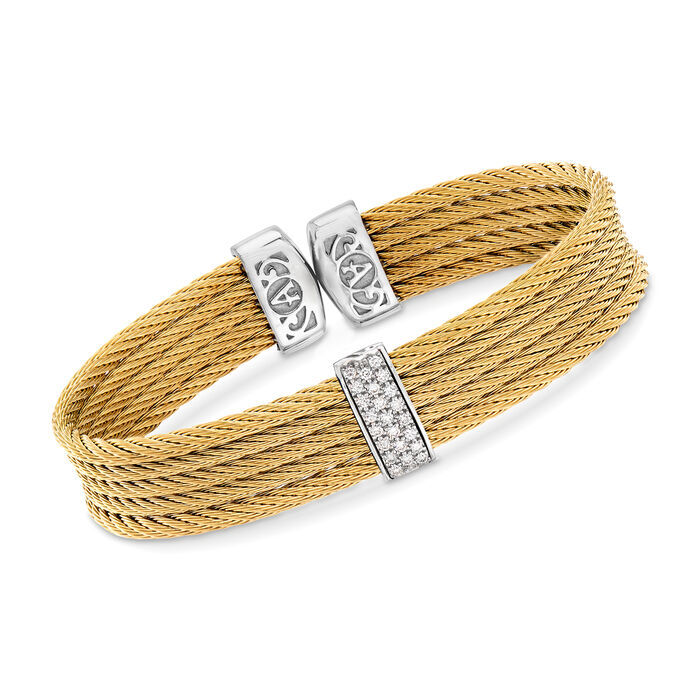 "ALOR ""Classique"" Yellow Stainless Steel Cable Cuff Bracelet with .19 ct. t.w. Diamonds and 18kt White Gold. 7"""