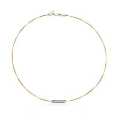 "ALOR ""Classique"" .22 ct. t.w. Diamond Bar Yellow and Rose Cable Necklace With 18kt Two-Tone Gold, , default"
