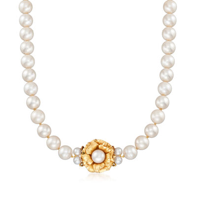 C. 1990 Vintage 4-7mm Cultured Pearl Necklace with 14kt Yellow Gold Flower Clasp