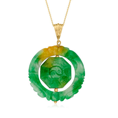 C. 1970 Vintage Carved Jade Pendant Necklace in 18kt Yellow Gold