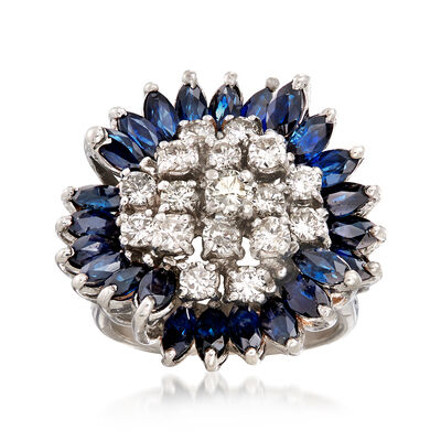 C. 1970 Vintage 3.60 ct. t.w. Sapphire and 1.30 ct. t.w. Diamond Ring in 14kt White Gold , , default