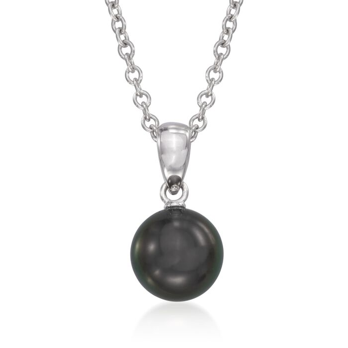 "Mikimoto Black Cultured South Sea Pearl Necklace in 18-Karat White Gold. 18"", , default"