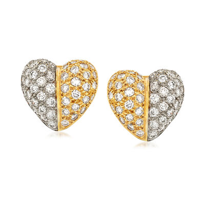 C. 1980 Vintage 5.00 ct. t.w. Diamond Heart Earrings in 18kt Two-Tone Gold
