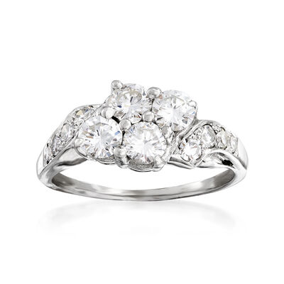 C. 1960 Vintage 1.55 ct. t.w. Diamond Cluster Ring in 14kt White Gold, , default