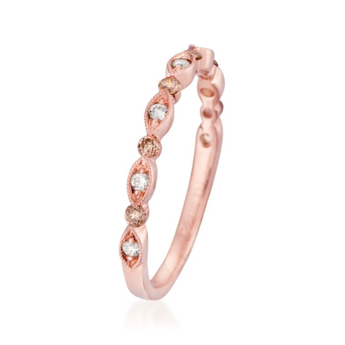 Henri Daussi .21 ct. t.w. Brown and White Diamond Wedding Ring in 14kt Rose Gold