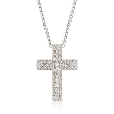 "Roberto Coin ""Princess"" .23 ct. t.w. Diamond Cross Necklace in 18kt White Gold"
