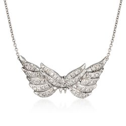 "Roberto Coin ""Tiny Treasures"" .24 ct. t.w. Angel Wing Diamond Necklace in 18kt White Gold, , default"