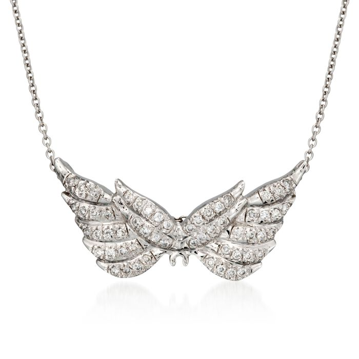 "Roberto Coin Tiny Treasures .24 Carat Total Weight Diamond Wing Necklace in 18-Karat White Gold. 16"", , default"