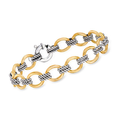 "Phillip Gavriel ""Italian Cable"" Link Bracelet in 18kt Yellow Gold and Sterling Silver, , default"