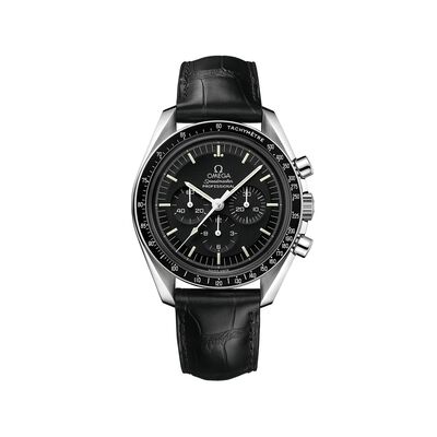 Omega Speedmaster Moonwatch Men's 42mm Stainless Steel Watch with Black Dial and Black Leather Strap, , default