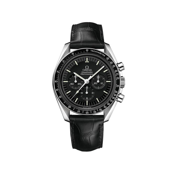 Omega Speedmaster Moonwatch 42mm Men's Mechanical Chronograph Stainless Steel Watch with Black Leather, , default