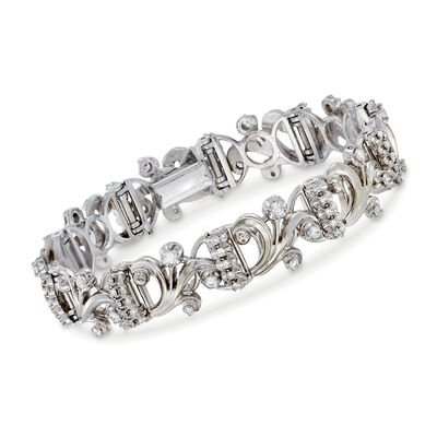 C. 1980 Vintage 2.00 ct. t.w. Diamond Swirl Link Bracelet in 18kt White Gold, , default