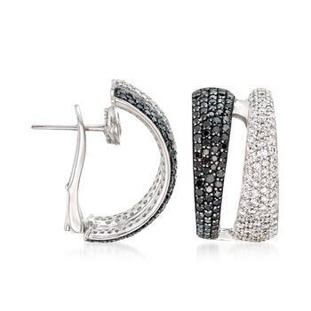 Roberto Coin 2.60 Carat Total Weight White and Black Diamond Hoops in 18-Karat White Gold