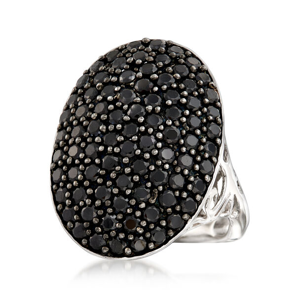 3.00 ct. t.w. Black Spinel Oval Ring in Sterling Silver. #897189