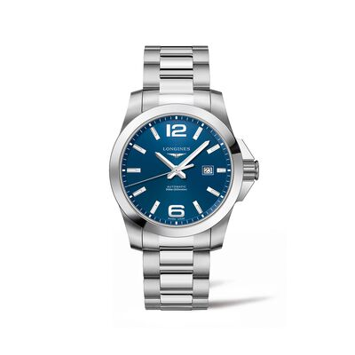 Longines Conquest Men's 43mm Automatic Stainless Steel Watch - Blue Dial