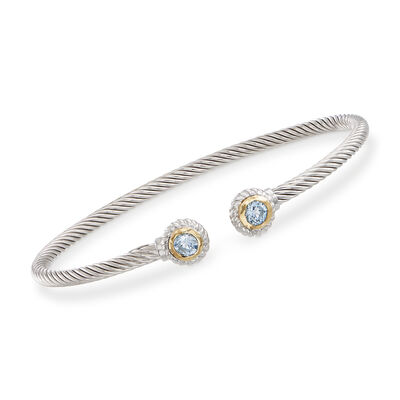 "Phillip Gavriel ""Italian Cable"" .60 ct. t.w. Blue Topaz Sterling Silver Cuff Bracelet with 18kt Gold"