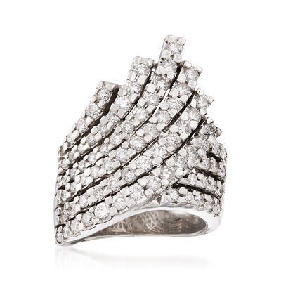 C. 1990 Vintage 1.75 ct. t.w. Diamond Multi-Row Crossover Ring in 14kt White Gold, , default