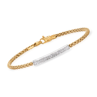 "Phillip Gavriel ""Popcorn"" .21 ct. t.w. Diamond Bar Bracelet in 14kt Yellow Gold, , default"