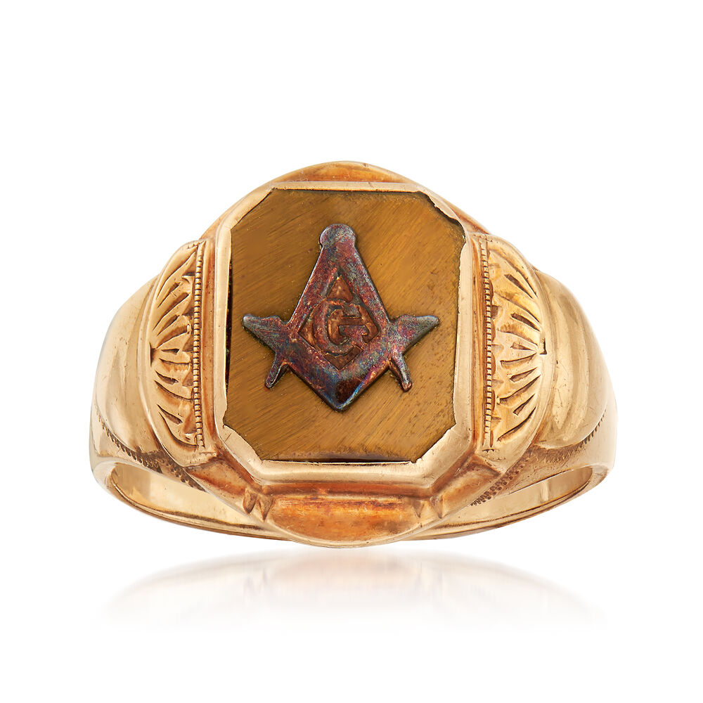 C  1940 Vintage Men's Tiger's Eye Masonic Square and Compass Ring in 10kt  Yellow Gold  Size 8 5