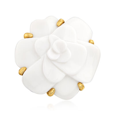 C. 1980 Vintage Chanel White Agate Flower Ring in 18kt Yellow Gold