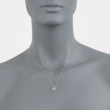 Roberto Coin Tiny Treasures .11 Carat Total Weight Diamond Peace Sign Necklace in 18-Karat White Gold, , default