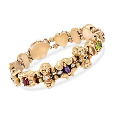 C. 1960 Vintage 3.35 ct. t.w. Multi-Stone Charm Bracelet in 14kt Yellow Gold, , default