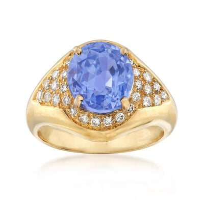 C. 2000 Vintage 4.55 Carat Oval Sapphire and .40 ct. t.w. Diamond Ring in 18kt Yellow Gold, , default